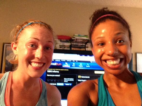 Just one workout in...and we're sweaty beasts.